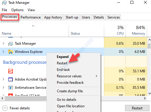 Task Manager Processes Tab Apps Windows Explorer Right Click Restart