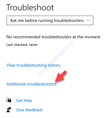 Troubleshoot Settings Rights Side Troubleshoot Additional Troubleshoot