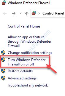 Turn Windows Defender Firewall