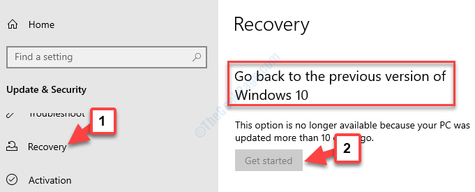 Update & Security Recovery Go Back To The Previous Version Of Windows 10 Get Started