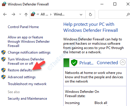 Windows Defender Firewall Restore Defaults