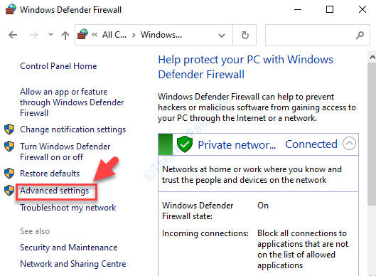 Windows Defender Firewall Left Side Advanced Settings