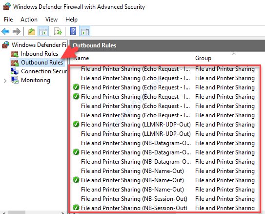Windows Defender Firewall With Advanced Security Outbound Rules File An D Printer Sharing Group Check If Anything Blocked