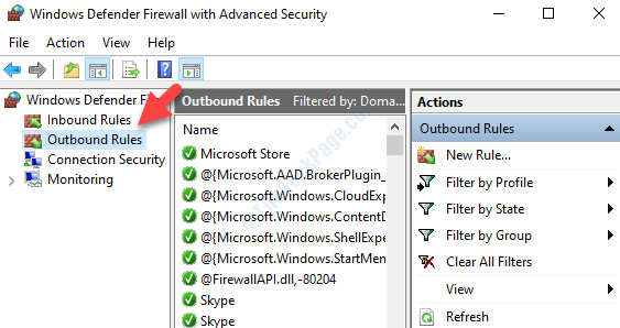 Windows Defender Firewall With Advanced Security Left Side Outbound Rules