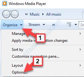 Windows Media Player Organise Options