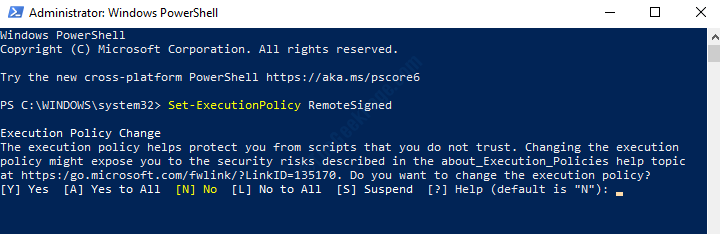 Windows Powershell (admin) Run Execution Policy Command Enter