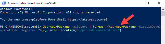 Windows Powershell (admin) Type Command Enter