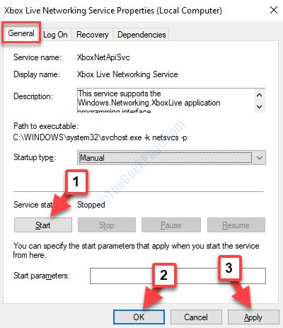 Xbox Live Networking Service Properties General Tab Start Apply Ok