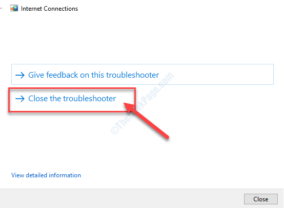 Close The Troubleshooter