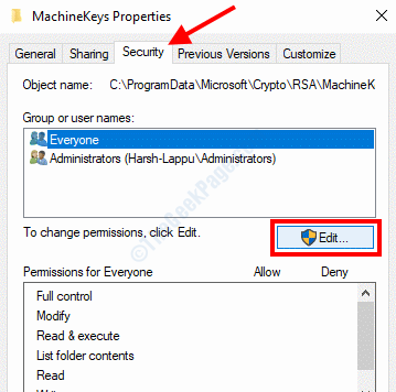 Machinekeys Properties Edit