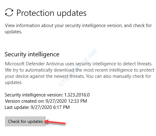 Security Intelli Check For Updates Windows Defender