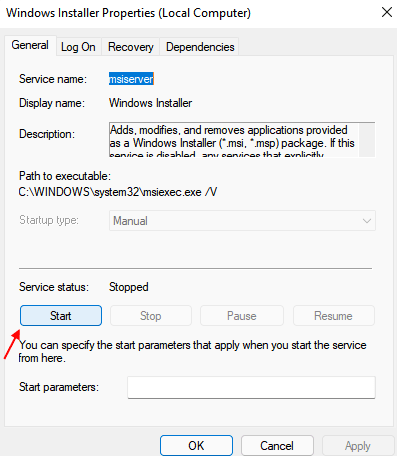 Windows Installer Start Min