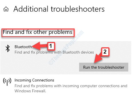 Additional Troubleshooters Find And Fix Other Problems Bluetooth Run The Troubleshooter