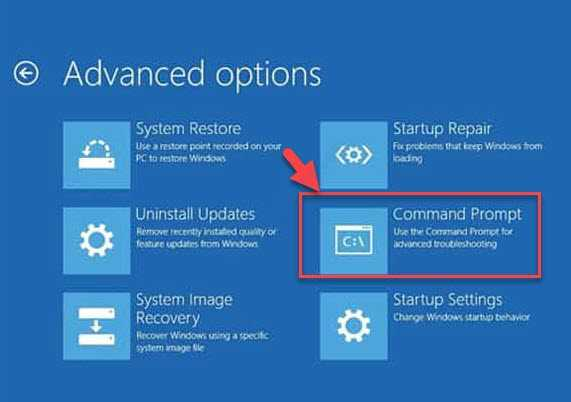 Advanced Options Command Prompt