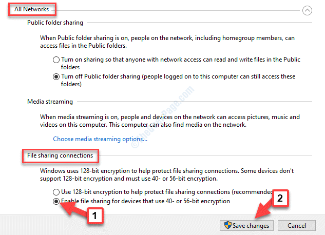 All Networks File Sharing Connections Save Changes