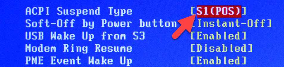 Bios Power Settings Acpi Suspend Type S1
