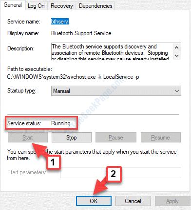 Bluetooth Properties General Service Status Start Ok
