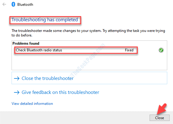 Bluetooth Troubleshooting Has Completed Close