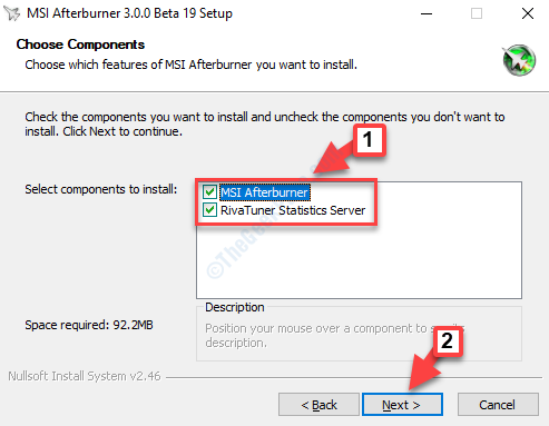 Choose Components Select Both Components To Install Next