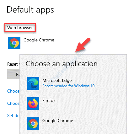 Default Apps Web Browser Choose An Application Select Browser As Default Browser