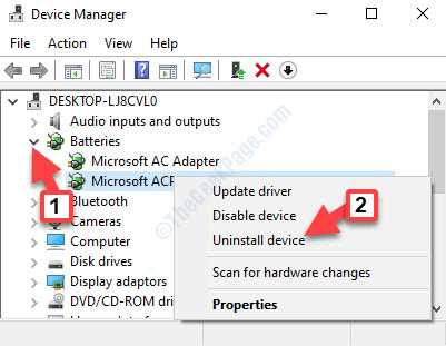 Device Manager Batteries Microsoft Acpi Compliant Control Method Battery Right Click Uninstall Device