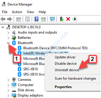 Device Manager Bluetooth Bluetooth Adapter Right Click Uninstall