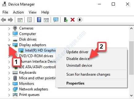 Device Manager Display Adapters Expand Graphic Adapter Right Click Disable