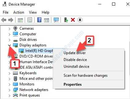 Device Manager Display Adapters Expand Graphic Adapter Right Click Update Driver
