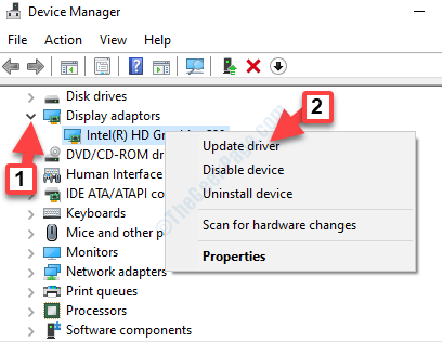 Device Manager Display Adapters Expand Graphics Driver Right Click Update Driver