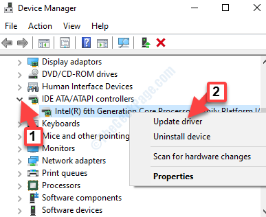Device Manager Ide Ata Atapi Controllers Ahci Controller Right Click Update Driver