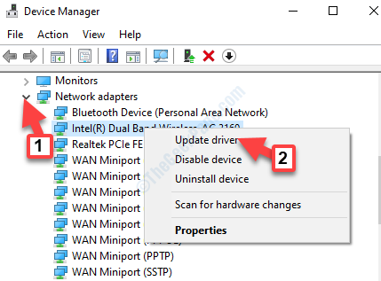 Device Manager Network Adapters Wireless Adapter Right Click Update Driver