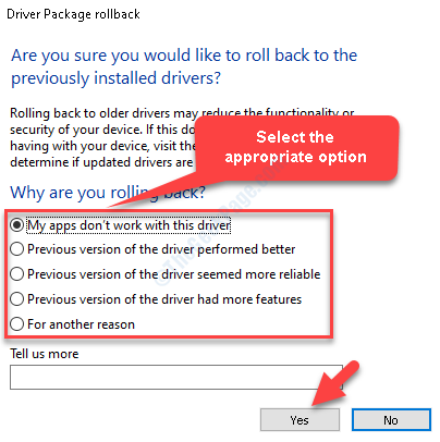Driver Pakage Rollback Select Appropriate Option Yes