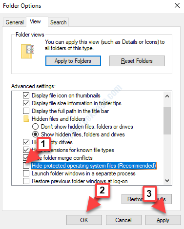 Folder Options View Tab Advanced Settings Hide Protected Operating System Files Uncheck