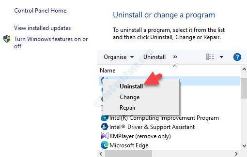 Locate Program Right Click Uninstall