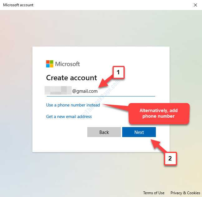 Microsoft Create Account Add Email Or Phone Number Next