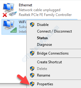 Network Connections Active Wifi Connection Right Click Properties