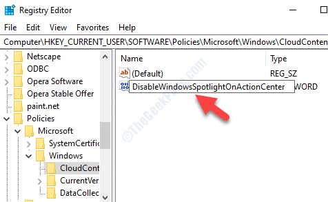 New Dword Value Rename Disablewindowsspotlightonactioncenter