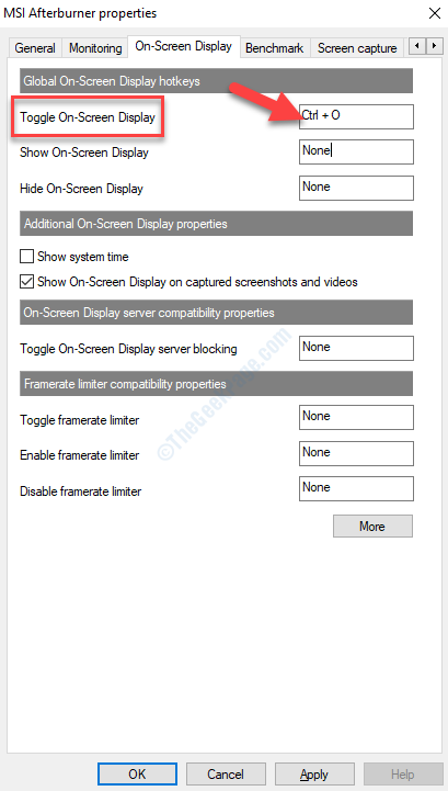 On Screen Display Toggle On Screen Display Set Hotkey Apply