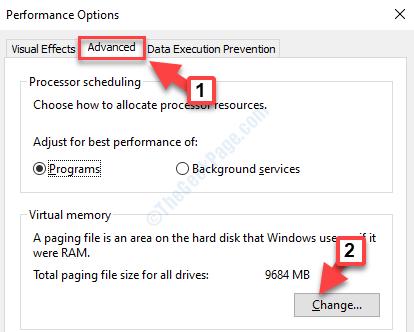 Performance Options Advanced Virtual Memory Change