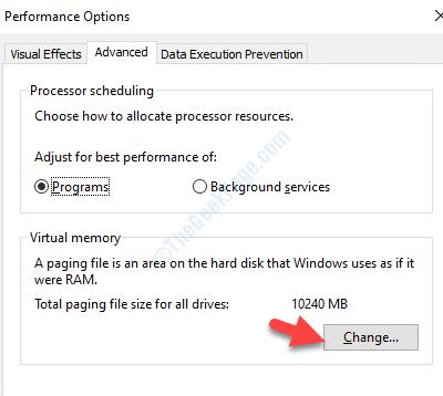 Performance Options Advanced Viryual Memory Change