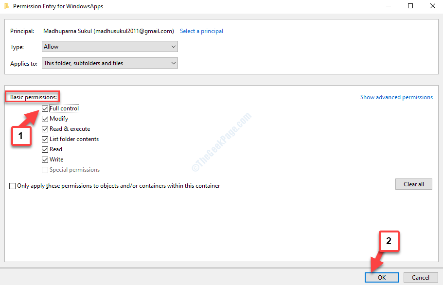 Permissions Entry For Windowsapps Basic Permissions Full Control Check Ok
