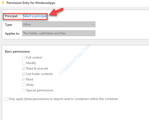 Permissions Entry For Windowsapps Principal Select A Principal