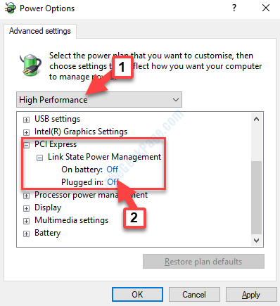 Power Options High Performance Pci Express Off Apply Ok