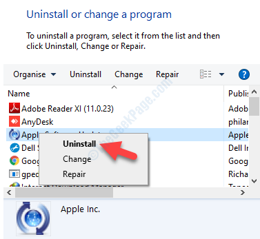 Programs And Features Uninstall Or Change A Program Select Program Right Click Uninstall