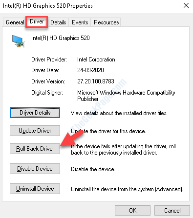 Properties Driver Roll Back Driver