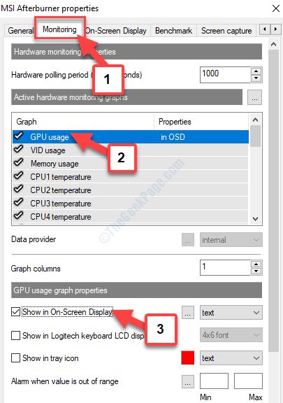 Properties Monitoring Graph Gpu Usage Gpu Usage Graph Properties Show In On Screen Display Check