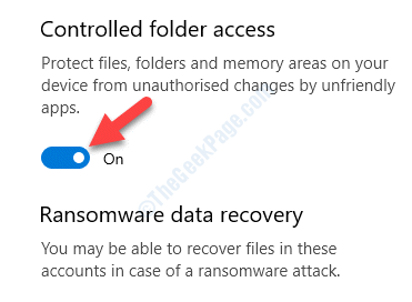 Ransomware Protection Controlled Folder Access Turn On