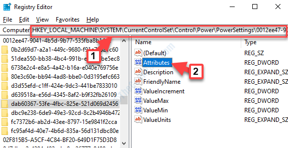 Registry Editor Navigate To Power Settings Path 2 Attributes Double Click