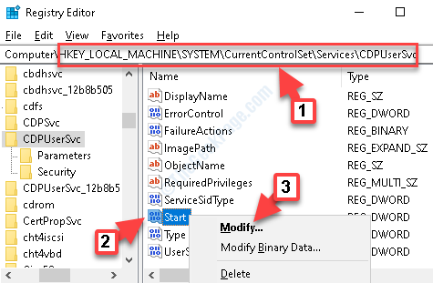 Registry Editor Navigate To Cdpusersvc Right Side Start Right Click Modify