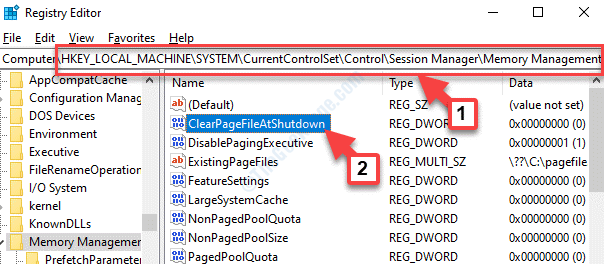 Registry Editor Navigate To Path Right Side Clearpagefileatshutdown